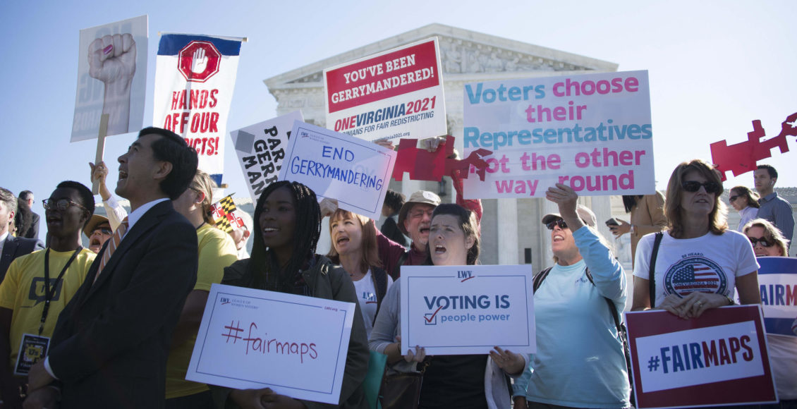 Demonstrators protest outside the Supreme Courtin 2017as the court hears arguments about partisan gerrymandering.