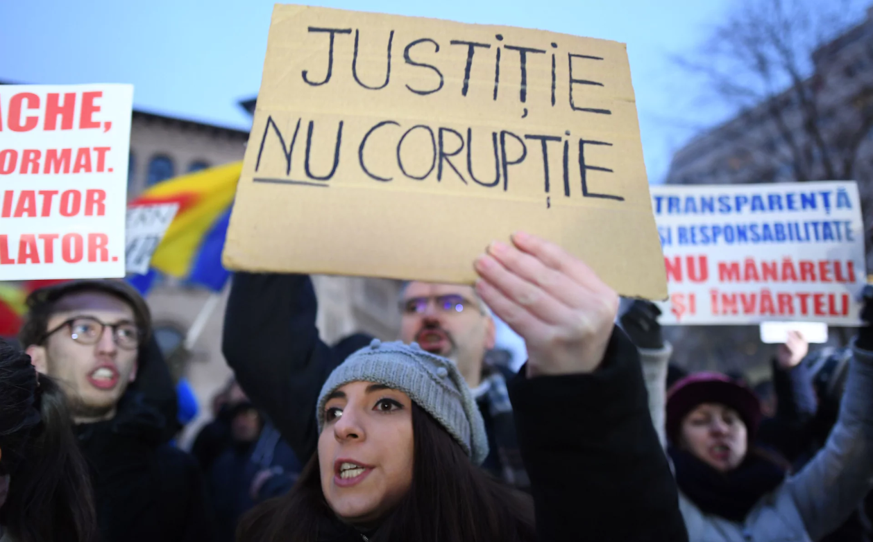Anti-corruption activists protesting in Romania.
