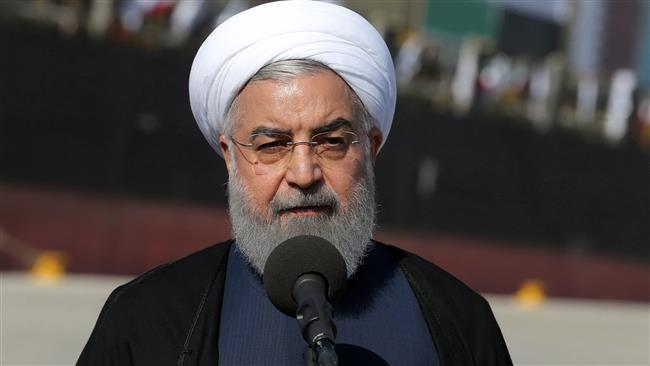 Iranian President Hassan Rouhani giving a speech in the southern Iranian coastal city of Chabahar