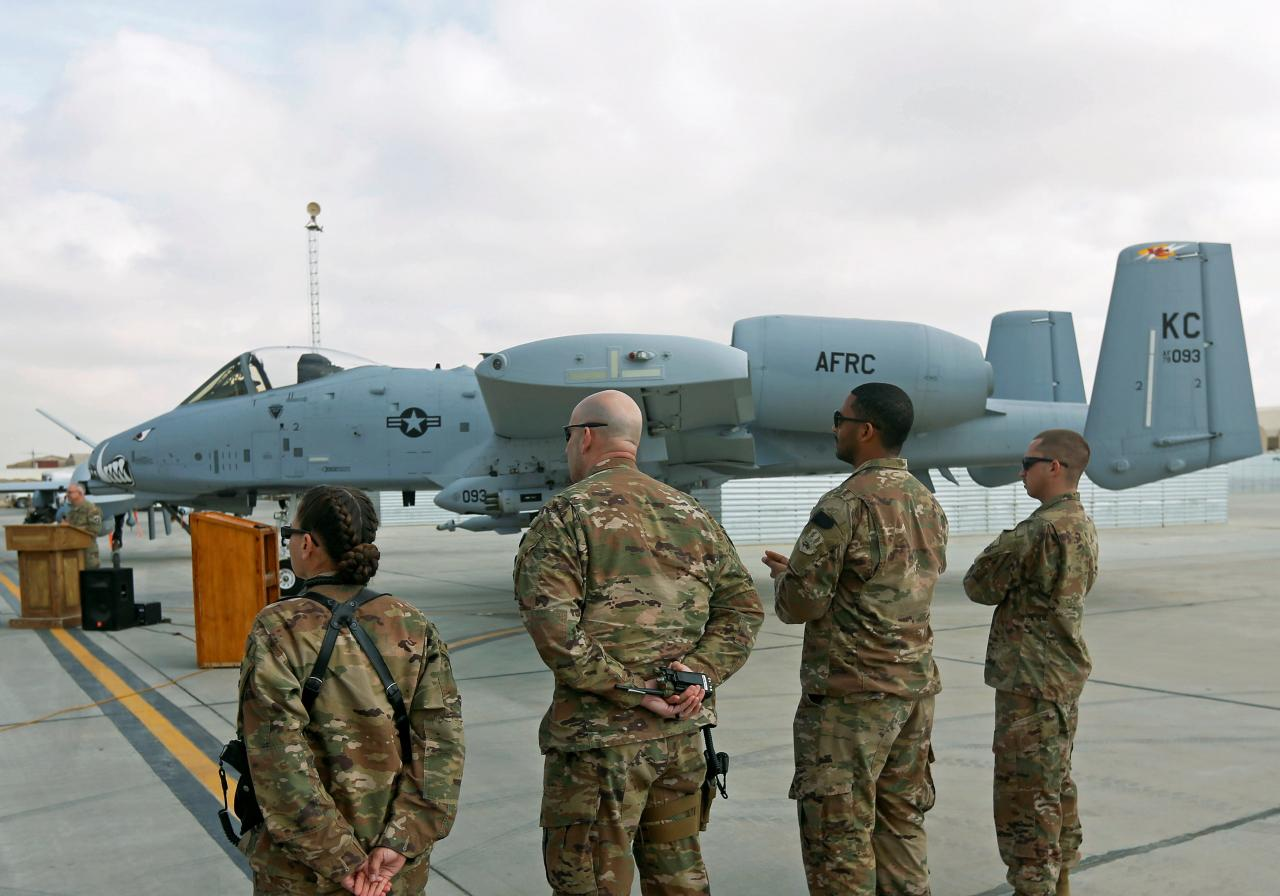 U.S air force personnel stand by an U.S. A-10 aircraft, one of a squadron that arrived at the Kandahar air base, Afghanistan January 23, 2018.