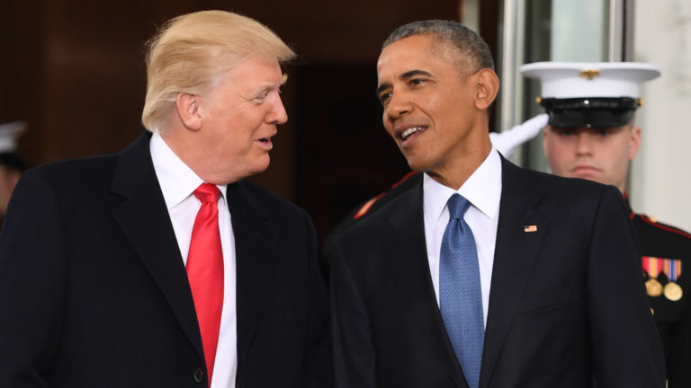 Obama and Trump by the White House