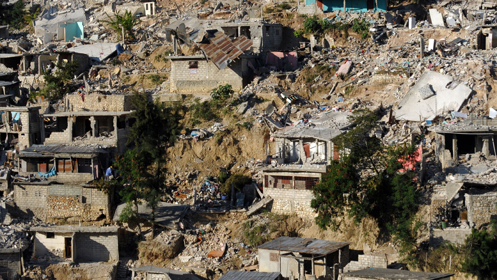Devastated and collapsed houses as a result of the 2010 Haiti earthquake