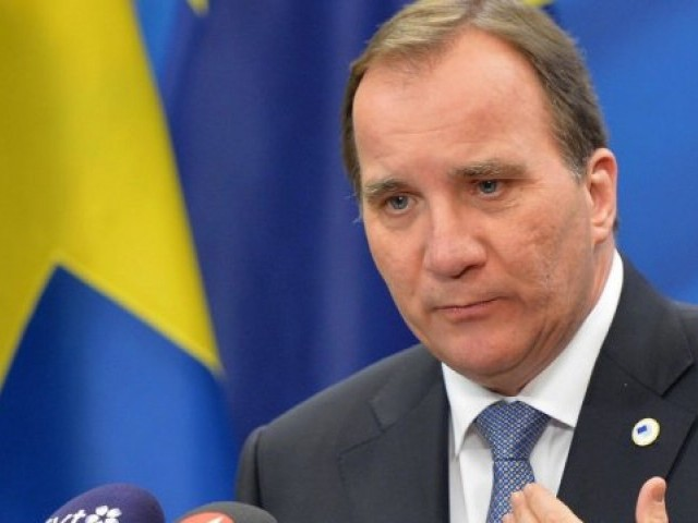 Swedish Prime Minister Stefan Lofven during a press conference in Stockholm, Sweden