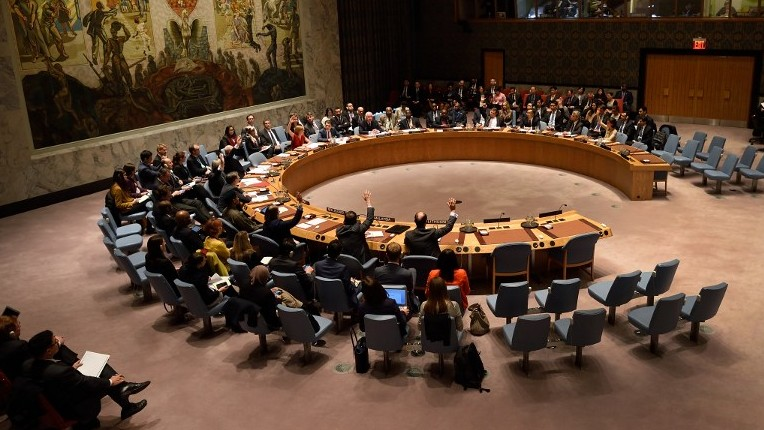 The United Nations (UN) Security Council votes at United Nations Headquarters in New York