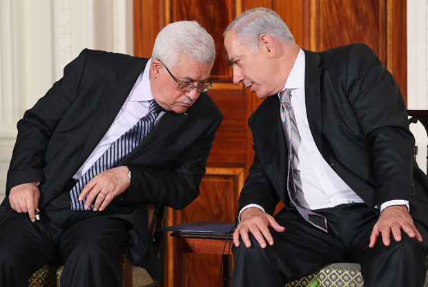 Palestinian Authority President Mahmoud Abbas and Israeli Prime Minister Benjamin Netanyahu at the White House