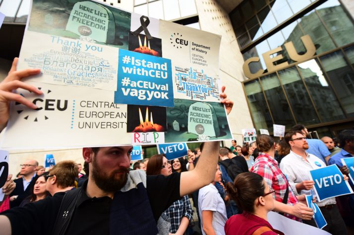 Protestors demonstrate against the Hungarian government law that targets the Central European University in Budapest