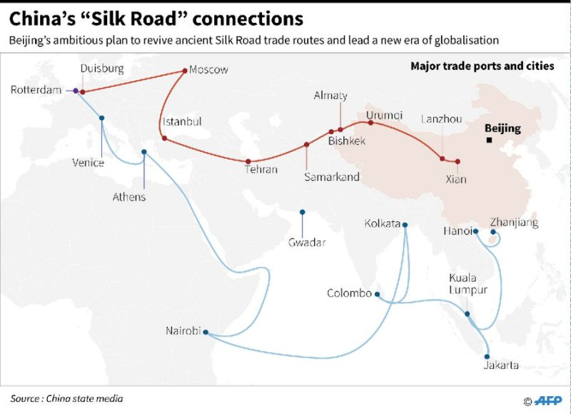 Map showing China's 'Silk Road' connections