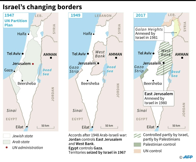 Three maps showing Israel's changing border with Palestine.