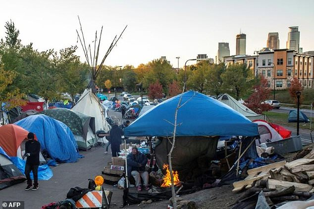 A largely-Native American homeless c& in Minneapolis. Photo AFP & Homelessness Drug Use Rife at Native American Tent City