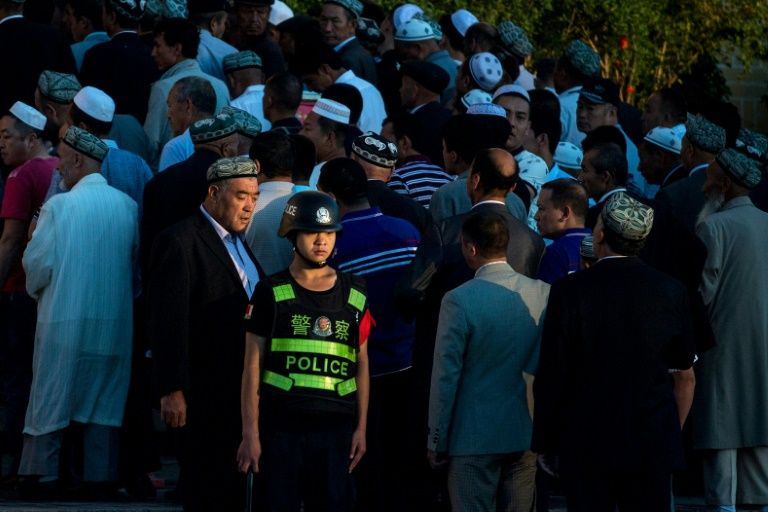 A Chinese police officer in Xinjiang, where Beijing has ramped up security presence in recent years.