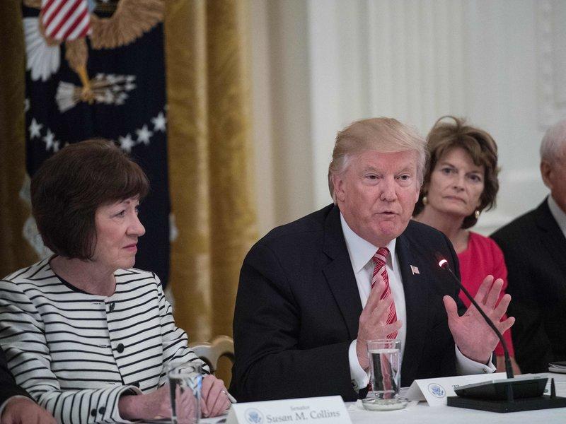Republican Senators Susan Collins (Maine) and Lisa Murkowski (Alaska) with President Donald Trump.