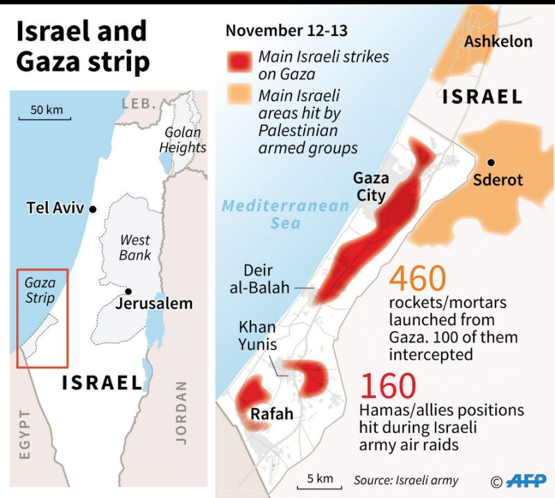 Map of the Gaza Strip and southern Israel on Nov 12-13, locating main areas hit by Israeli army air raids and Palestinian mortars/rockets