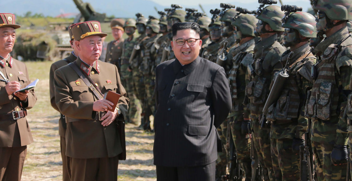 North Korean leaders in front of the army