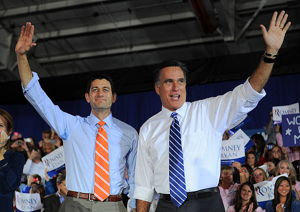 2012 US Republican Presidential candidate Mitt Romney and his running mate Paul Ryan