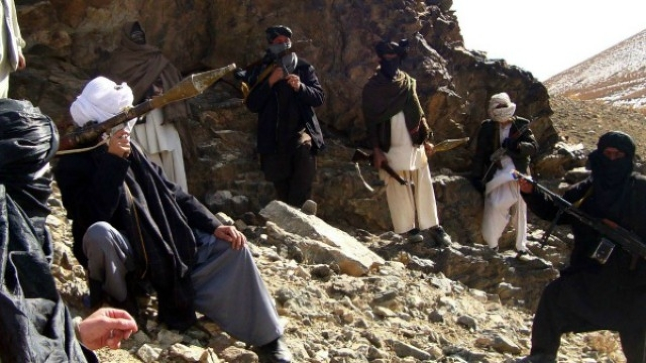 Taliban fighters with their weapons in Afghanistan
