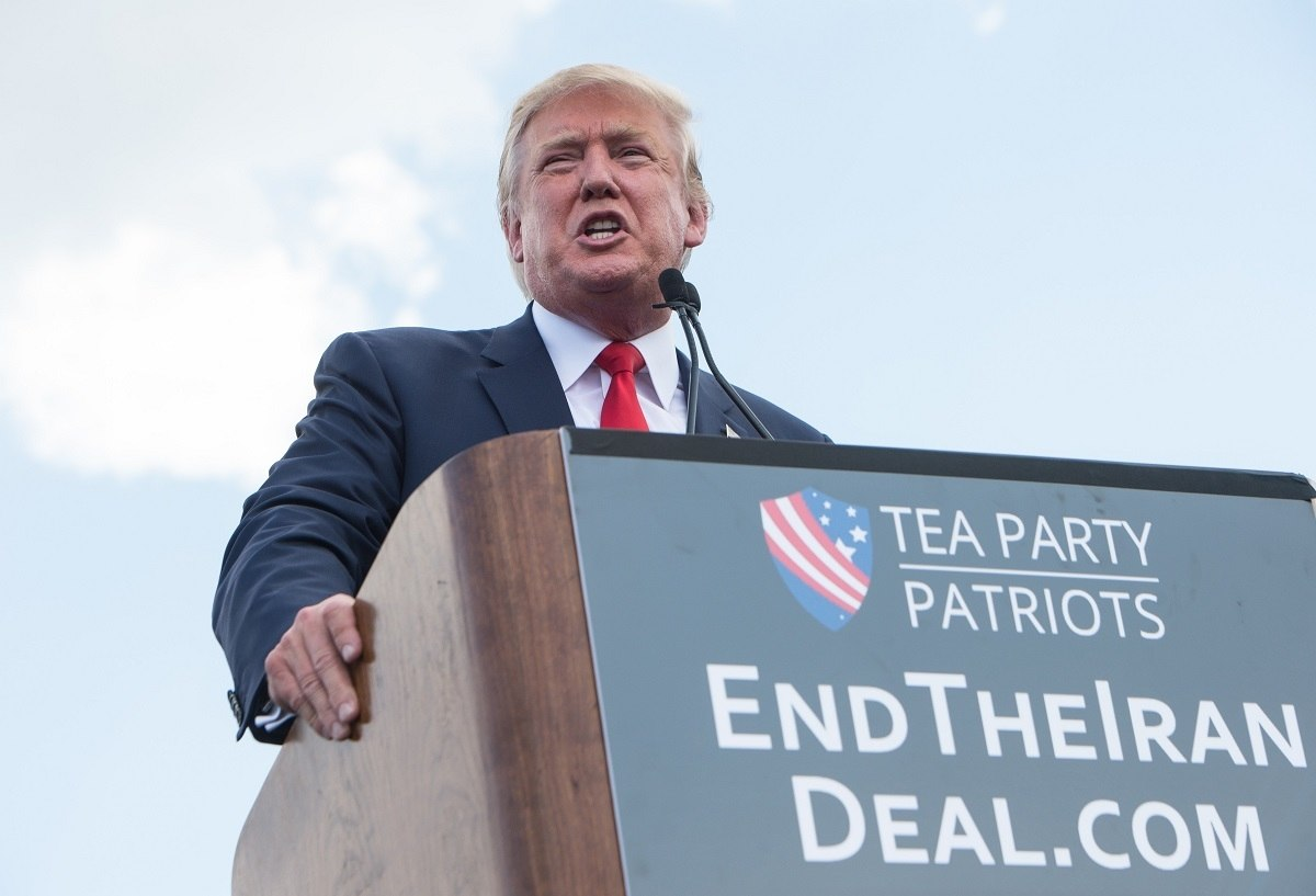 Donald Trump speaks at a rally organized by the Tea Party Patriots against the Iran nuclear deal