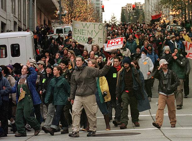 World Trade Organization protesters march through downtown Seattle, Washington, 1999