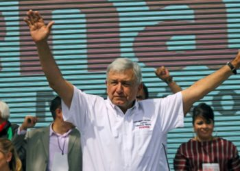 Mexico's President Andres Manuel Lopez Obrador (AMLO), standing for MORENA party, cheers at his supporters
