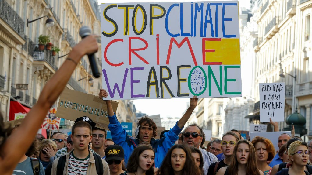 More than 14,500 people marched against climate change in Paris on October 13, 2018