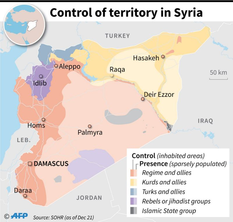 Territory control in Syria, as of December 21