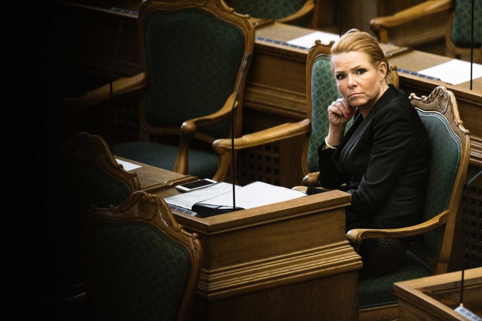 Denmark's Minister of Immigration and Integration Inger Stojberg listen to the debate in parliament.