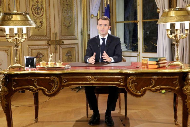 French President Emmanuel Macron addressed the yellow vests protesters in a 12-minute speech