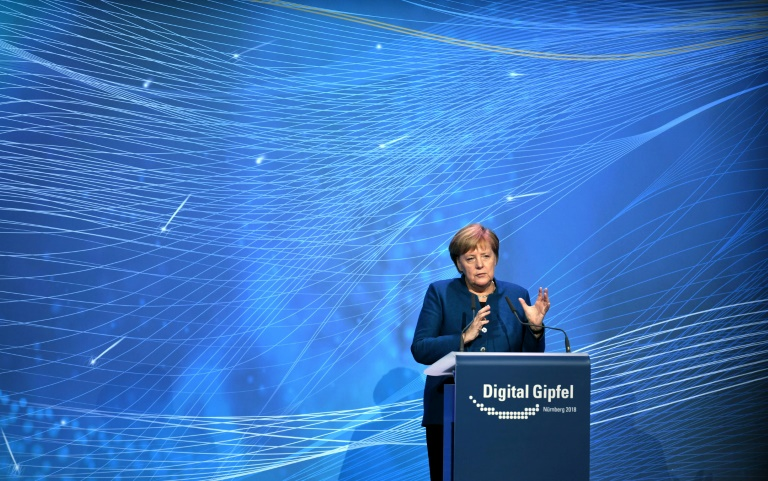 German Chancellor Angela Merkel speaking about artificial intelligence at the Digital Summit in Nuremberg