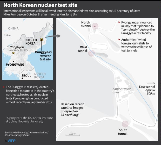 Map showing North Korea's nuclear test site