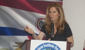 Conchita Sarnoff at a conference