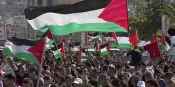 Arab Israelis with Palestinian flags