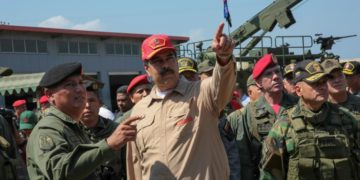 Venezuela's President Nicolas Maduro at a naval base in Puerto Cabello, Carabobo State, on January 27, 2019
