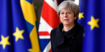 British Prime Minister Theresa May arrives in Brussels for a European Union summit