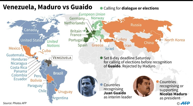 World map showing countries supporting Venezuelan president Nicolas Maduro and those which supporting president of the opposition-led parliament, Juan Guaido, as interim leader.