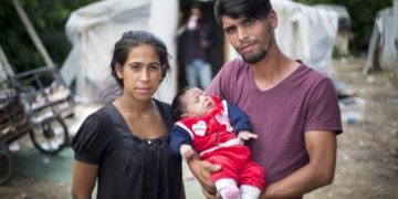 A stateless couple with their baby in Skopje, Macedonia