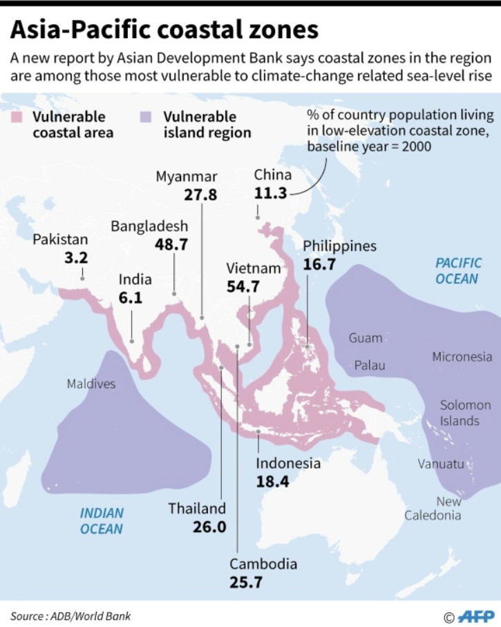 Map showing vulnerable coastal areas in Asia-Pacific region, according to a new study by the Asian Development Bank