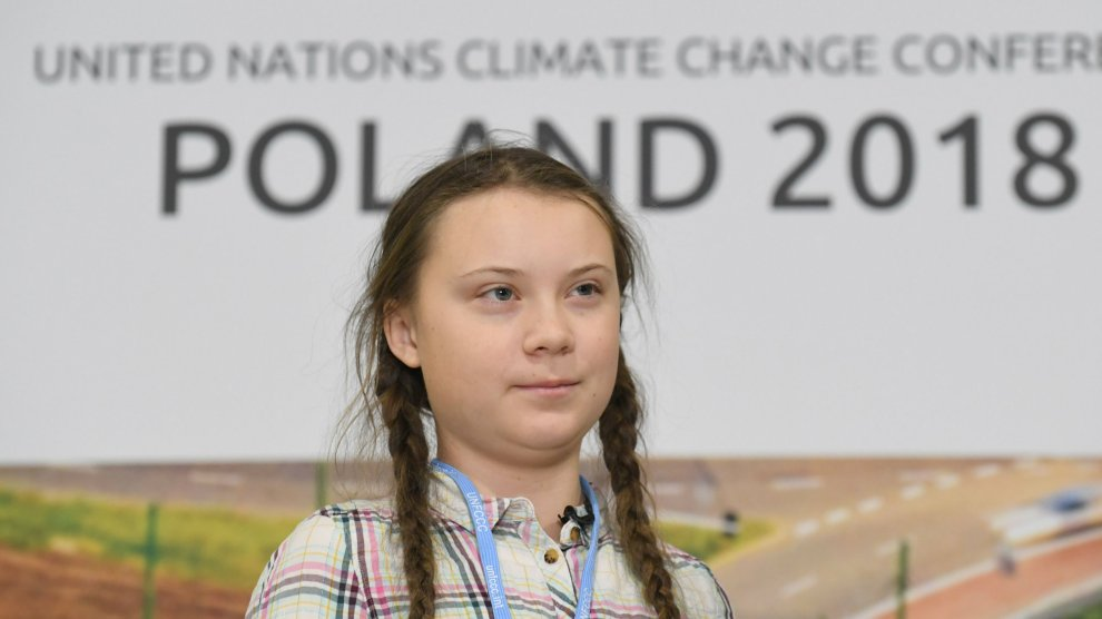 16 year old Swedish climate activist Greta Thunberg at the 2018 UN Climate Conference in Poland.