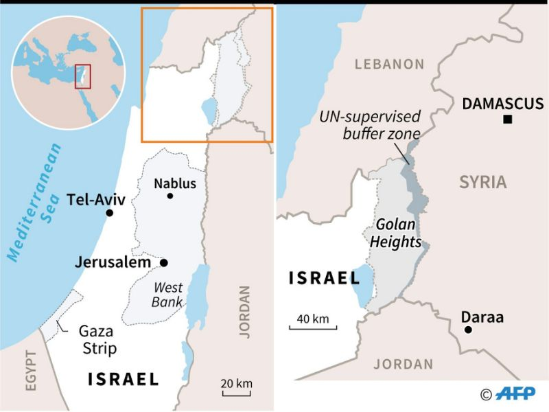 Map locating the Golan Heights