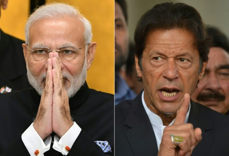India's Prime Minister Narendra Modi (left) and his Pakistan counterpart Imran Khan