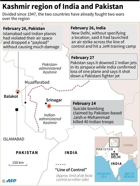 Map showing the Kashmir region of India and Pakistan where Pakistan said it downed two Indian jets in its airspace while India confirmed the loss of one of its planes and said it had shot down a Pakistani fighter jet