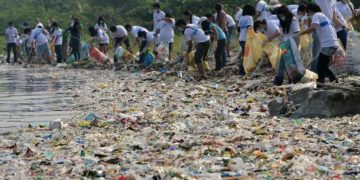 Volunteers remove rubbish washed ashore along the coastline of freedom island in Paranaque City, suburban Manila on June 8, 2013.