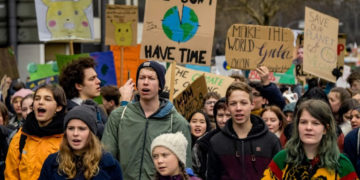 Youth activists protest for climate action, lead by Swedish activist Greta Thunberg.