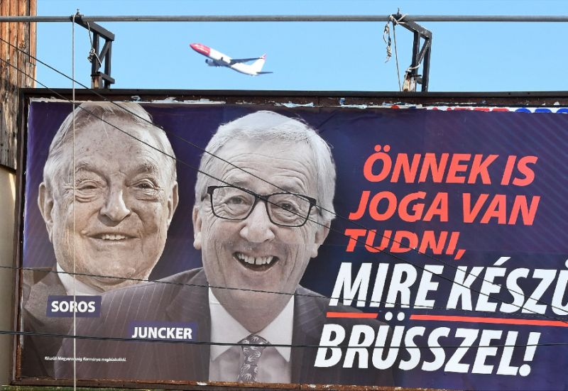 Controversial poster campaign in Hungary that targeted Juncker and Soros