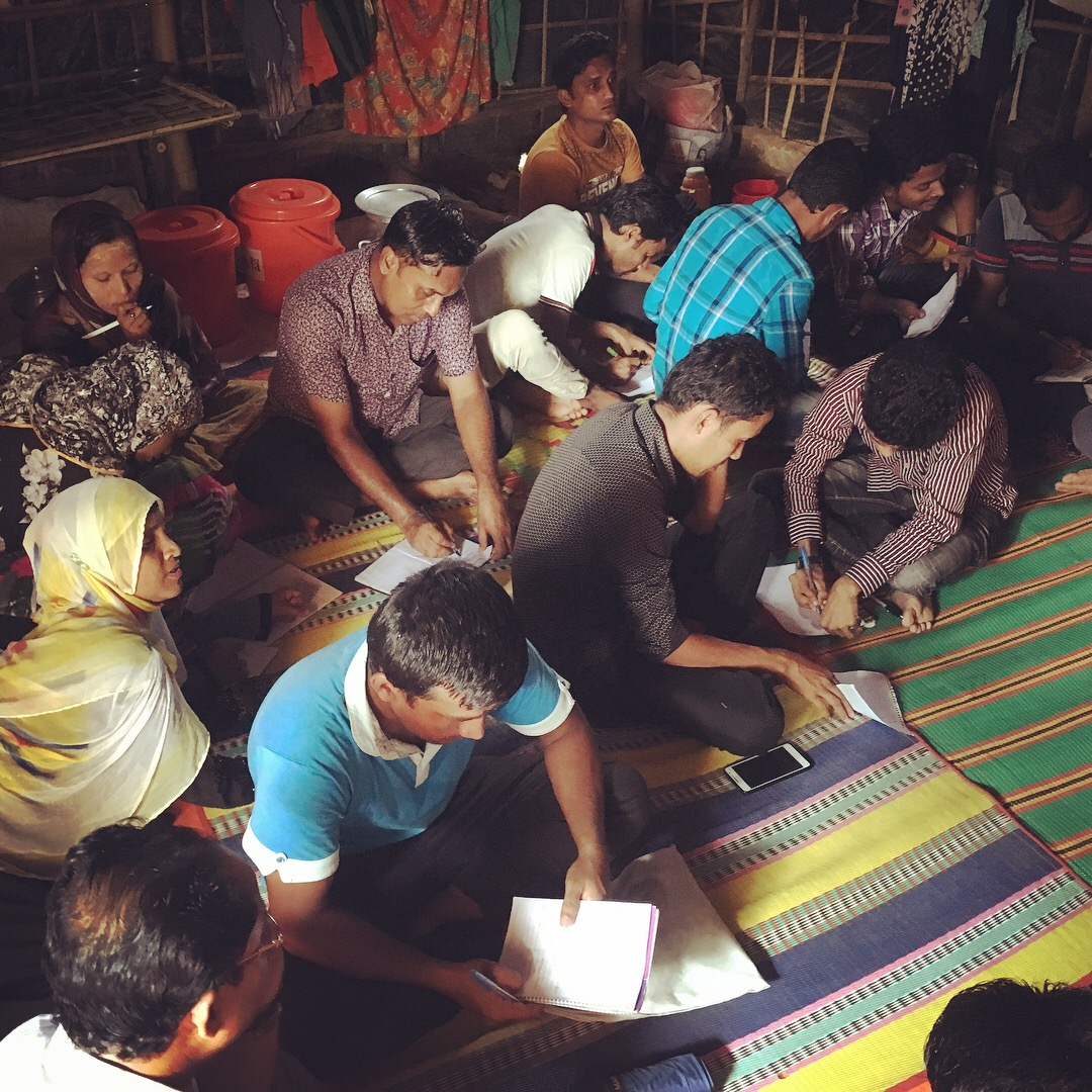 Rohingya refugees in Bangladesh attend a workshop about ethnicity, race, and culture