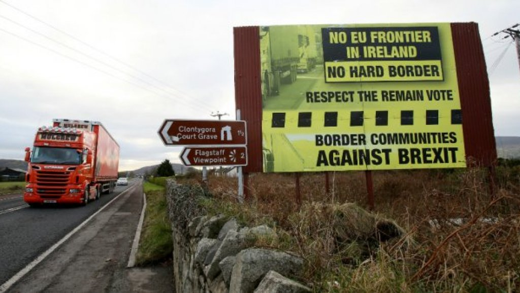 Traffic crosses the border into Northern Ireland from the Irish Republic
