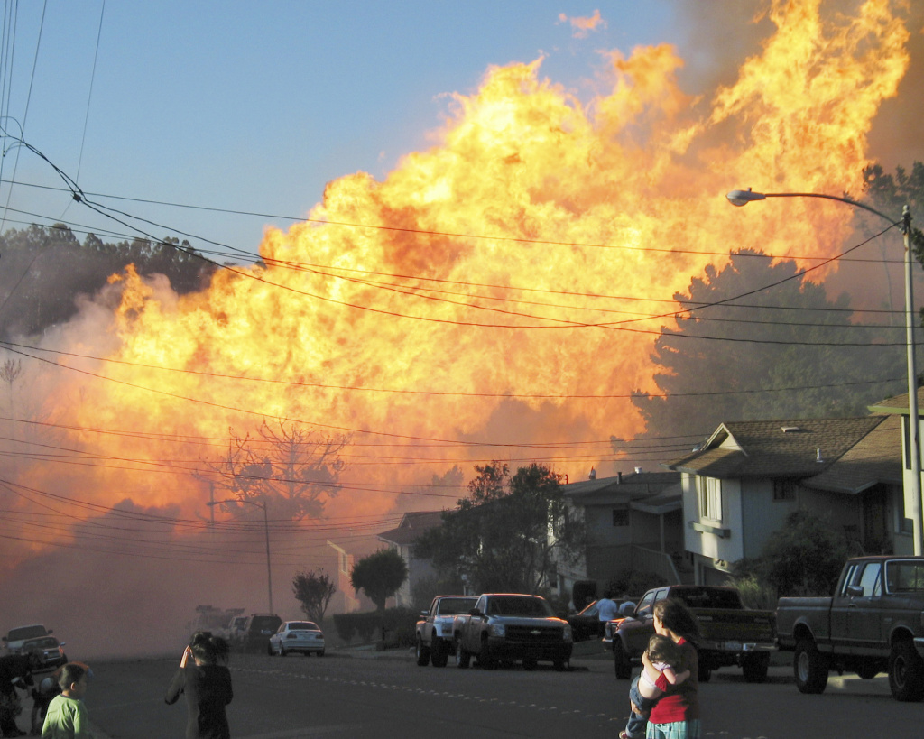 A large fire burns in San Bruno, California following the 2010 gas line explosion