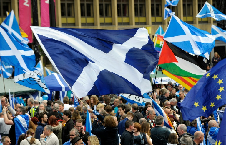 Scottish independence activists rally to call for a second referendum, 2016.