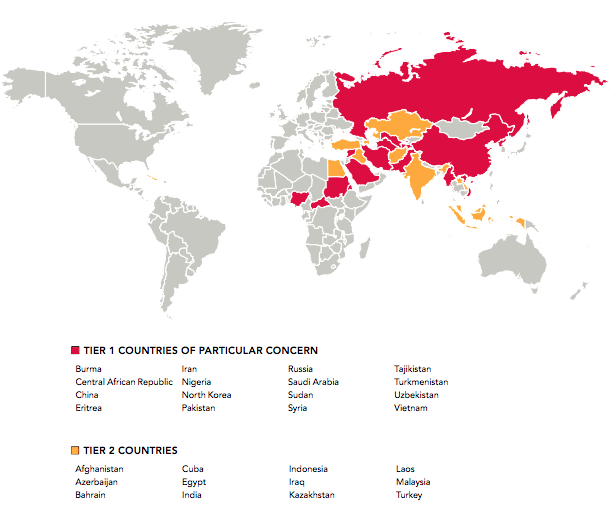 A map of the USCIRF's 2019 designations of countries of particular concern.