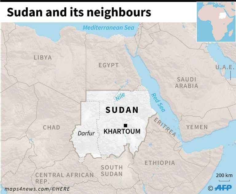 Map of Sudan and its neighbouring countries.