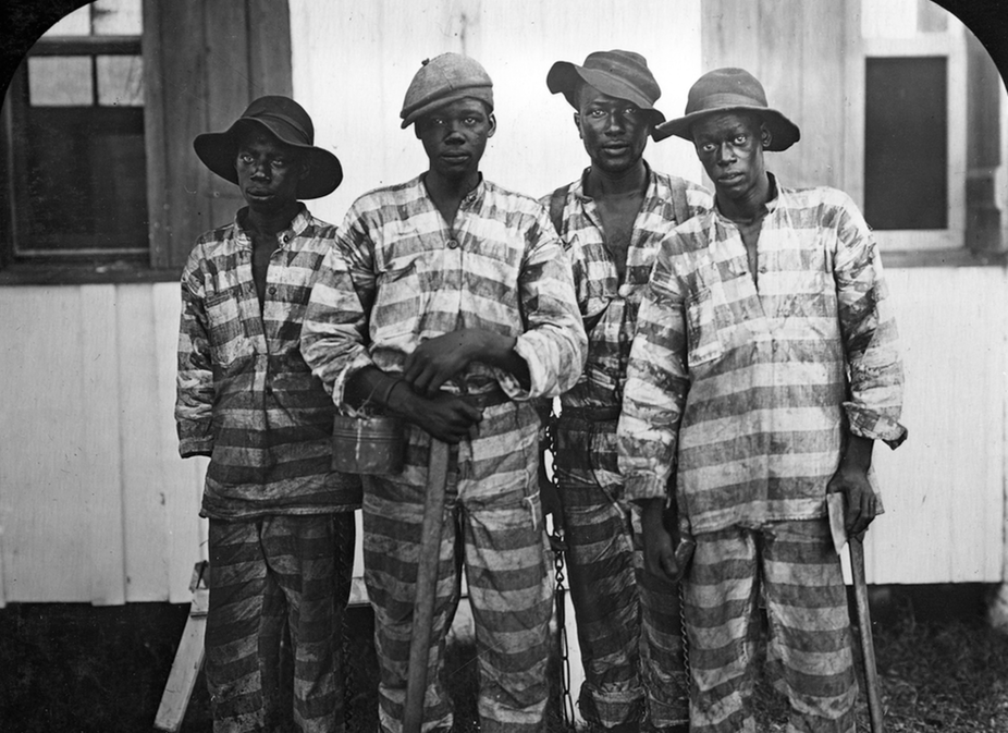 Convicts leased to a timber company in Florida pictured in 1915.
