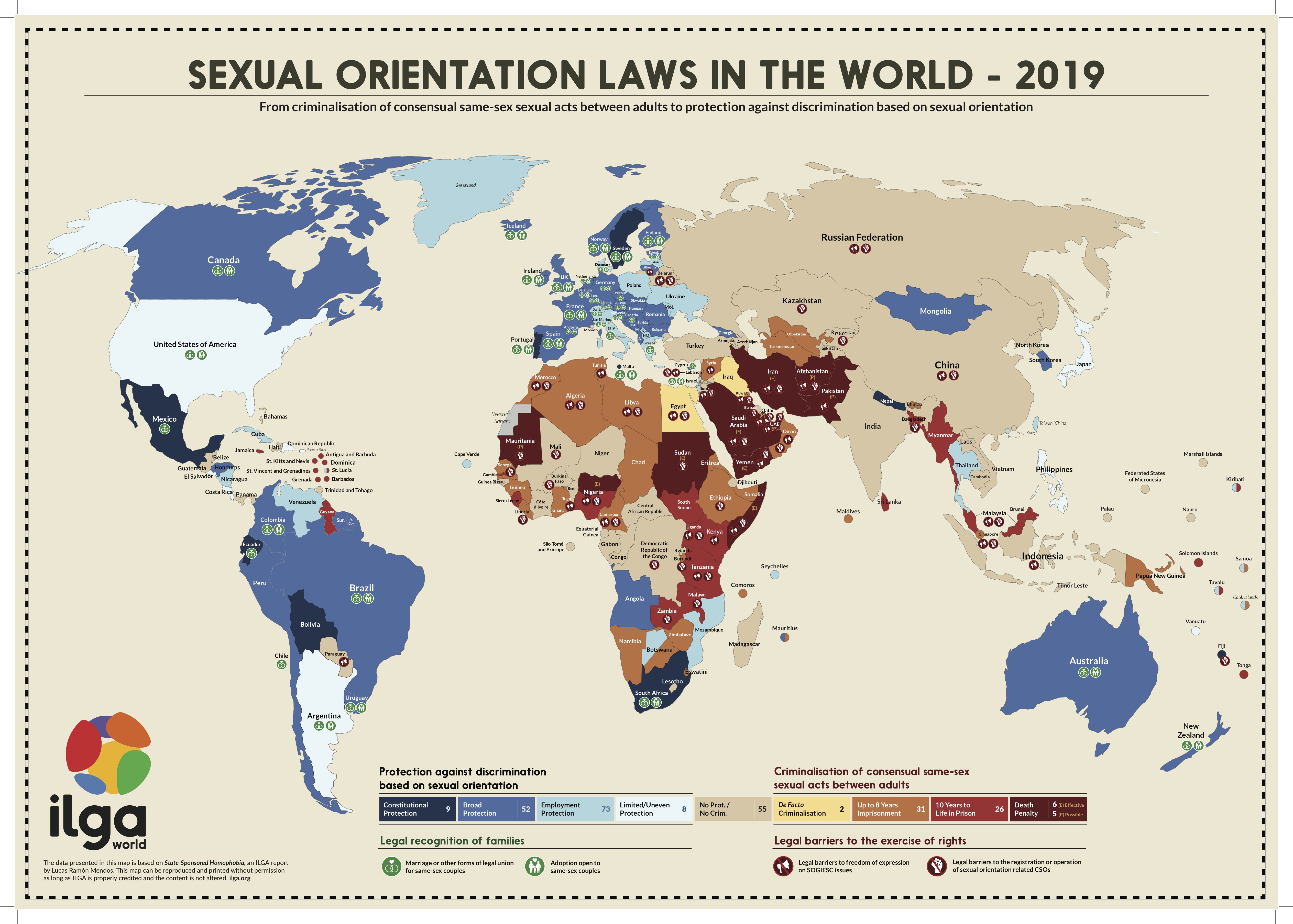 ILGA map showing sexual orientation laws in the world